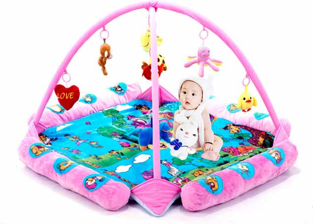 Blue Seabeach Baby Play Gym And Mat Activity Toy And Floor Soft Foam Toddler Child Melodies Time