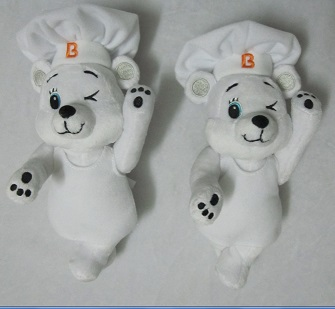 Bimbo White Chef Teddy Bear Stuffed Plush Toy Cute customized Bear Mascot