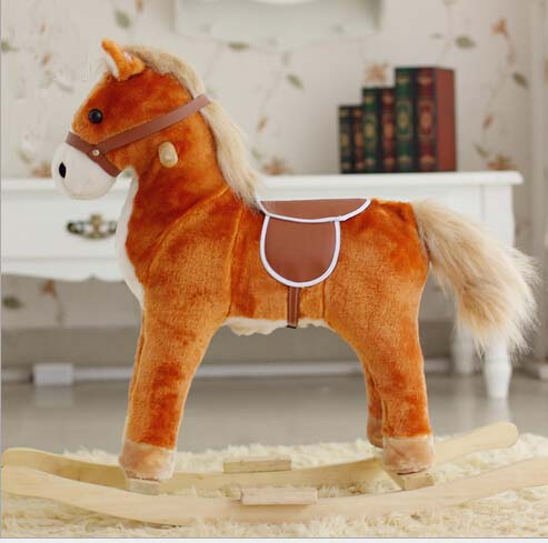 Plush Rocking Horse With Sound And Moving Mouth and Tail And Led Light Big Size