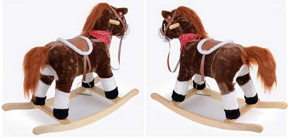 Hot Plush Rocking Horse With Sound And Moving Mouth and Tail And Led Light For Children Riding On