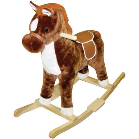 Brown Plush Rocking Horse With Sound And Moving Mouth and Tail And Led Light For Children Riding On