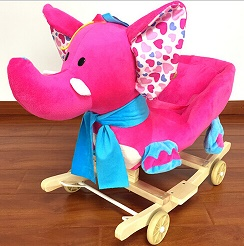 Lovely Plush Elephent Animal Baby Rocking Chair With Music For Children Riding On