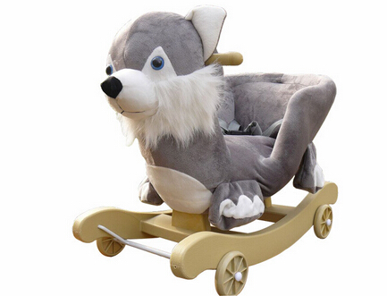 Lovely Plush Dog Animal Baby Rocking Chair With Music For Children Riding On