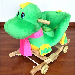 Lovely Plush Dragon Animal Baby Rocking Chair With Music For Children Riding On