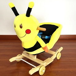 Lovely Plush Honeybee Animal Baby Rocking Chair With Music For Children Riding On